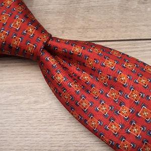 ROBERT TALBOTT BOC Red Gold Metallic Silk Tie